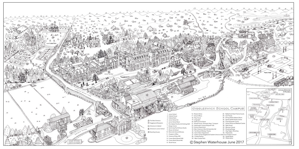 Giggleswick School Site Map Pencil Rough