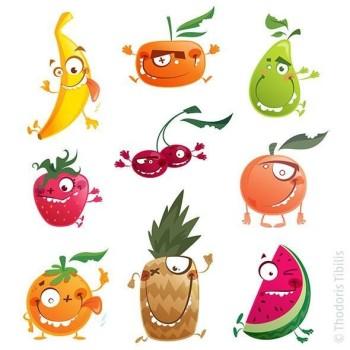 Crazy cartoon fruits