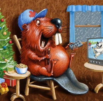 Beaver watching TV