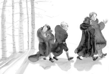 Lucy, Edmund, Susan and Peter follow the Beavers as the thaw begins — The Lion, the Witch, and the Wardrobe