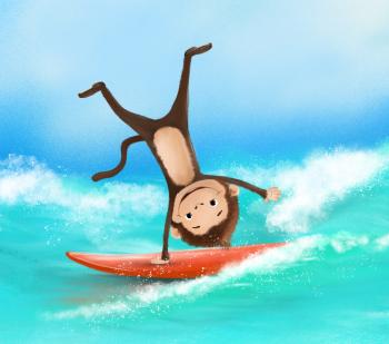 Monkey on surf