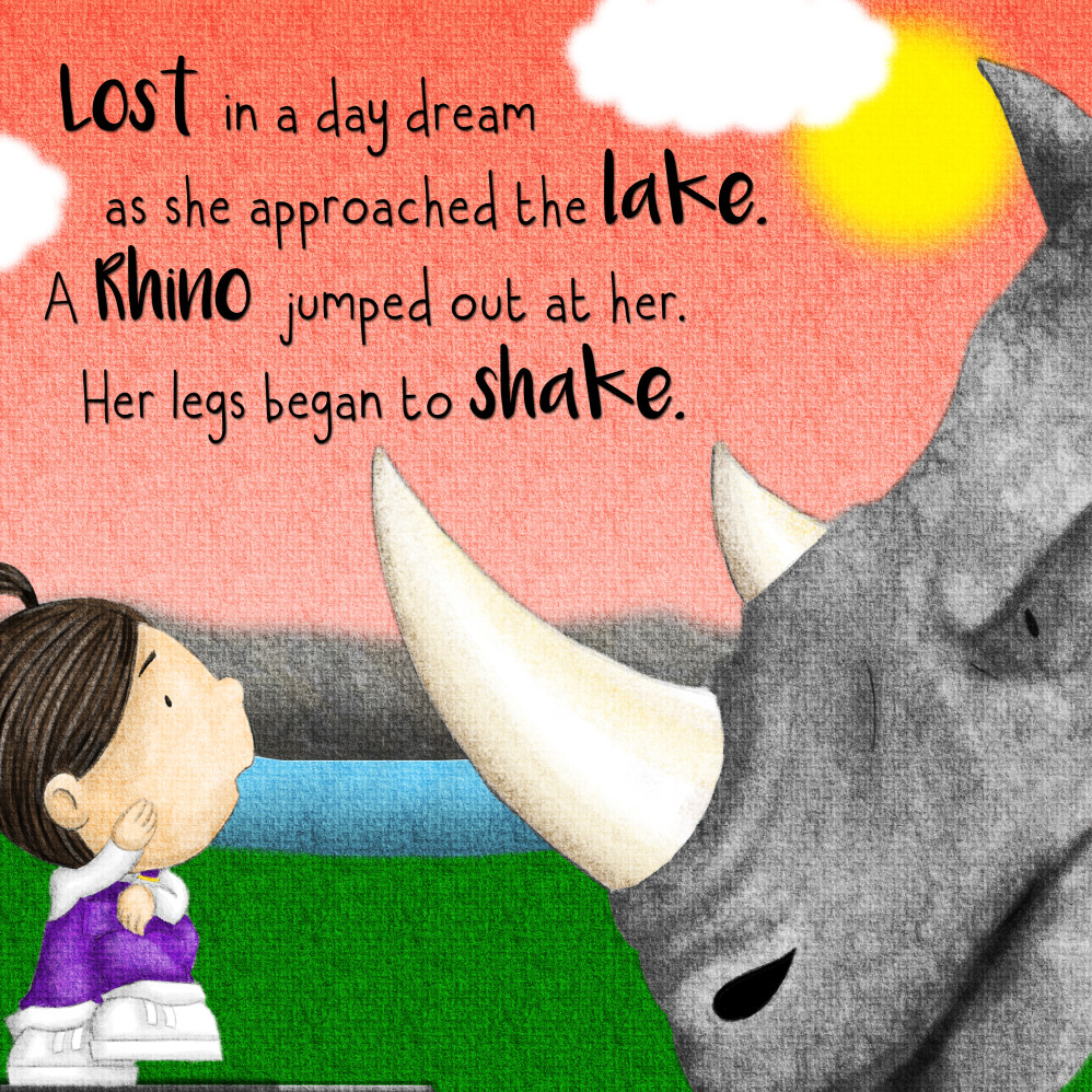 Large rhino frightens girl and teddy illustration for Behind the Magic Door