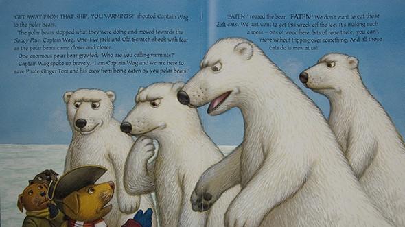 Polar Bears talking to Captain Wag.