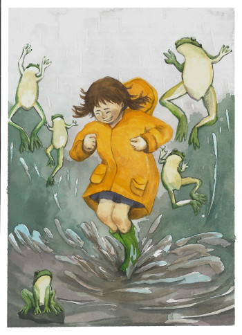jumping in rain, with frog