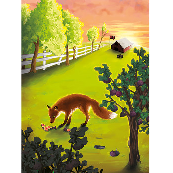 A Fox Foraging for Fruits