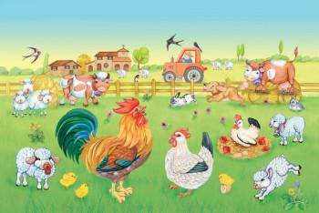 a cute farm with cockerel