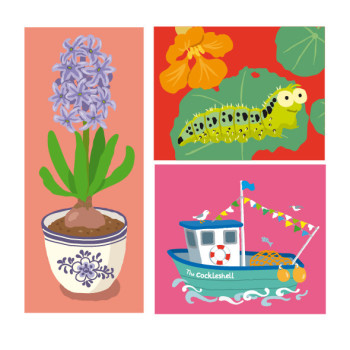 Flowers, Caterpillar and Boat (Guides Association)