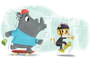 Rhino and Cat Shateboarding