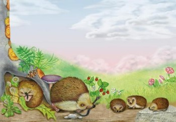 a family of hedgehogs in the country