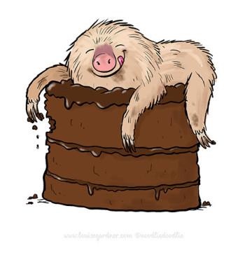 Chocolate cake sloth