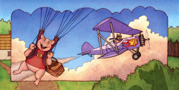 Sixth little piggy liked to skydive. Seventh littl