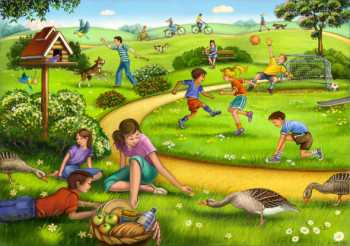 Children and families playing in the park