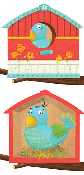 Bird in her house - Spread from lift the flap book