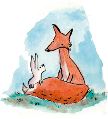 Fox and rabbit watercolour fable