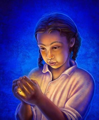 Girl holding firefly.