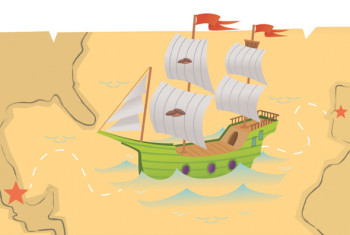 Map with sailing ship