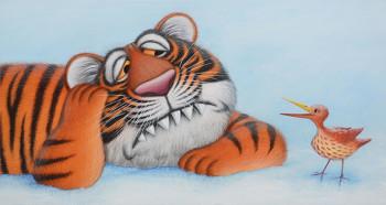 Tiger listening to bird.