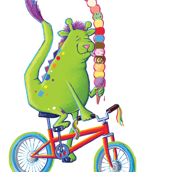 Adorable green monster on bicycle