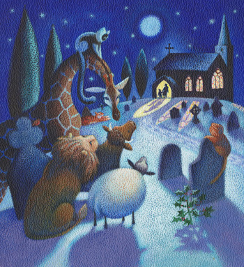 Animals at Christmas - magazine story illustration