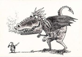 Boy knight and Dragon