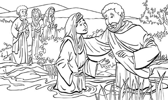 Paul baptizing Lydia