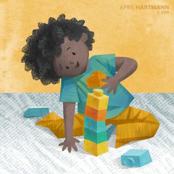 Boy with Building Blocks