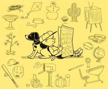 """Born to Draw Comics: The Story of Charles Schulz and the Creation of Peanuts"" endpaper art"