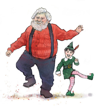 Dancing Elf and Santa