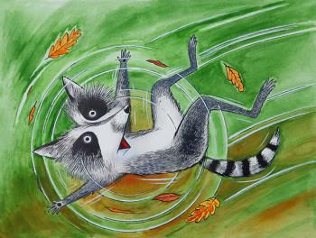Raccoon falling.
