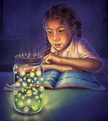 Girl studying fireflies in jar.