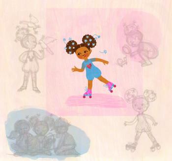 Afro-flower skating girl