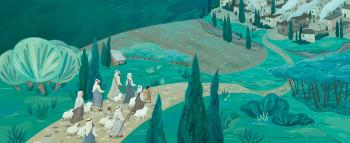 Shepherds on their way to Bethlehem