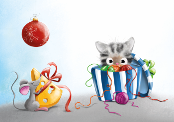 Merry Christmas with mouse and cat
