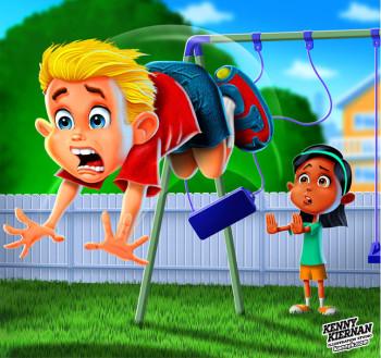 Boy and Girl Playing on Backyards Swings