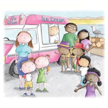 Children at the ice cream van