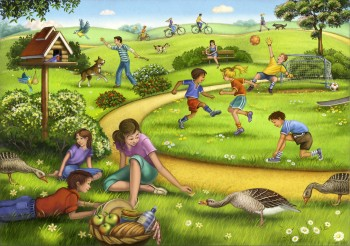 Puzzle - Children and families playing in the park