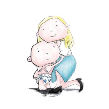 Mum cuddles her little baby boy