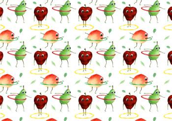 Hula Hoopin' Fruit Repeat Pattern