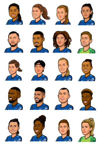 Player Portraits for Chelsea FC official kids website