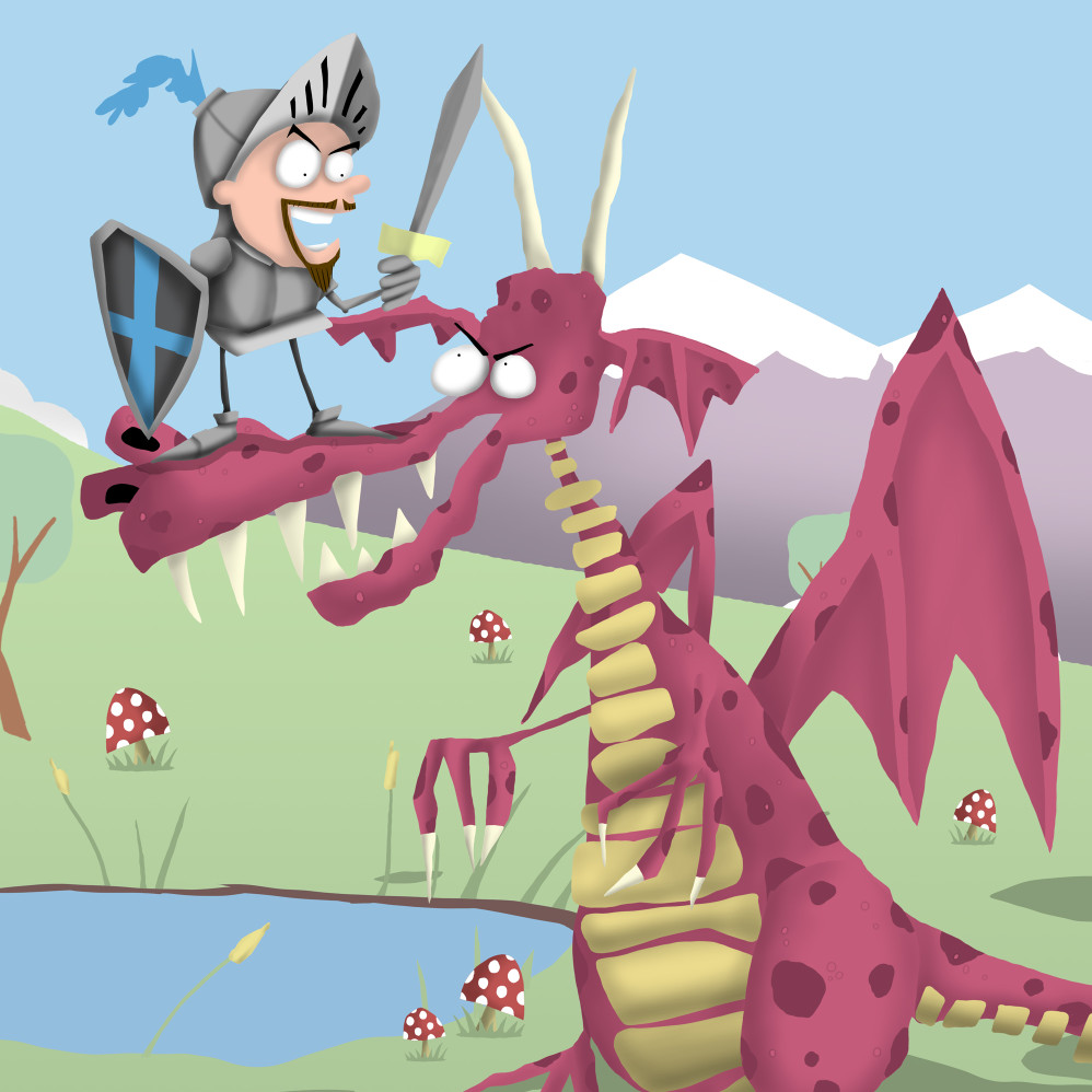 Cartoon Knight and Dragon Illustration