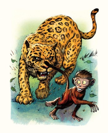 Leopard and monkey