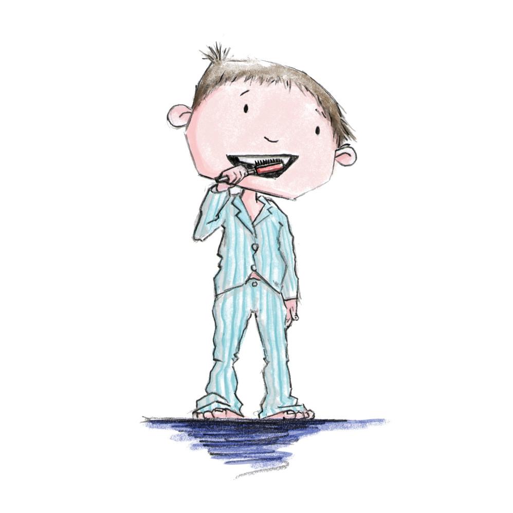 Little Boy in his PJ's brushing his teeth