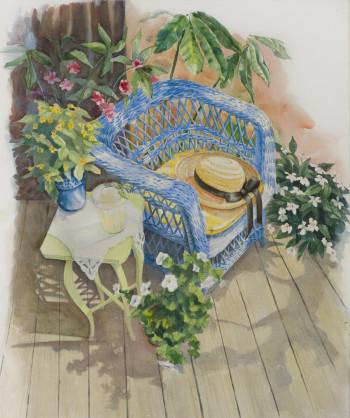 Blue Wicker Chair