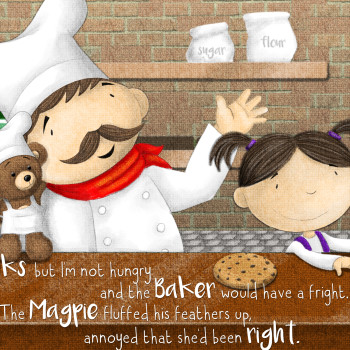 Baker makes cookies for girl and teddy illustration for Behind the Magic Door