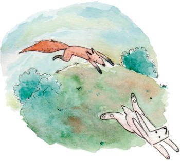 Watercolour, Aquarelle fable. Fox and Rabbit