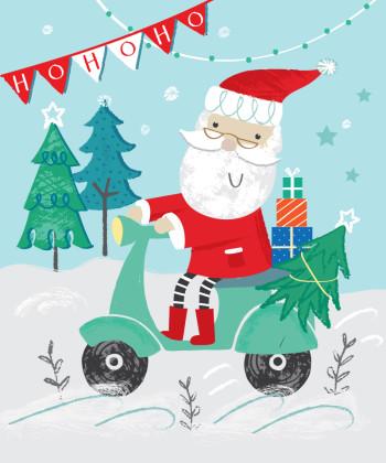 Santa on a Moped