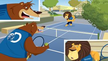 animals playing tennis
