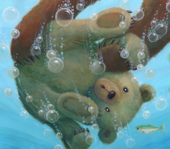 Little Bear falls into the river