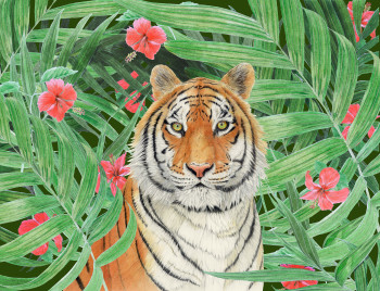 Tiger with red flowers