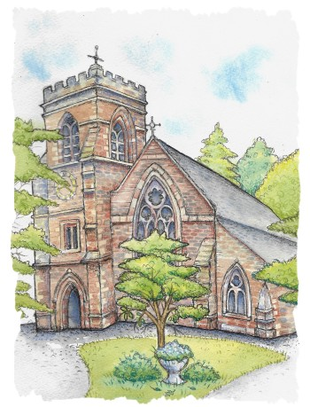 church painting in watercolour
